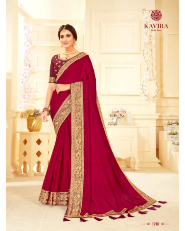 Saree rouge bordeaux Kavira