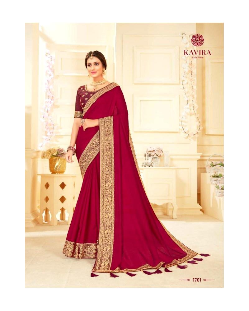 Saree rouge bordeaux Kavira