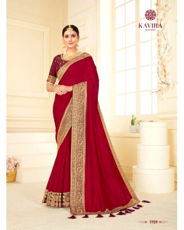 Saree marron brun Kavira