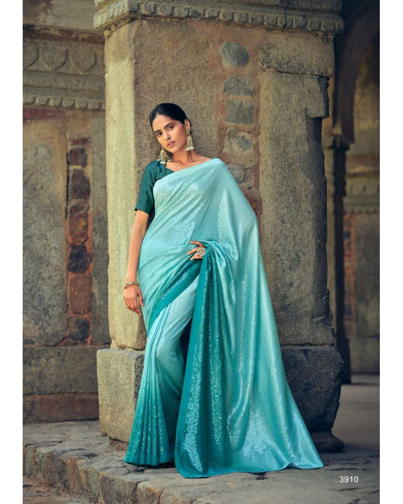 Saree bleu sequins Kashvi