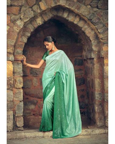 Saree vert sequins Kashvi