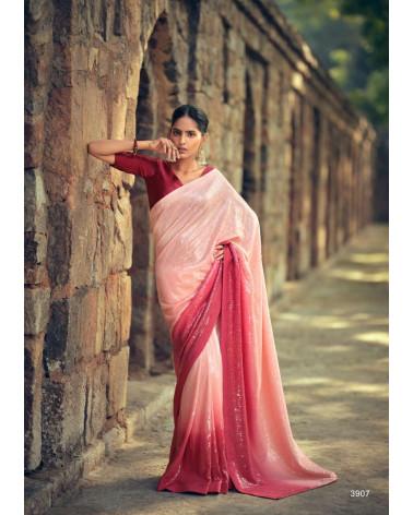 Saree rose et rouge sequins Kashvi