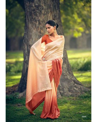 Saree beige et orange sequins Kashvi