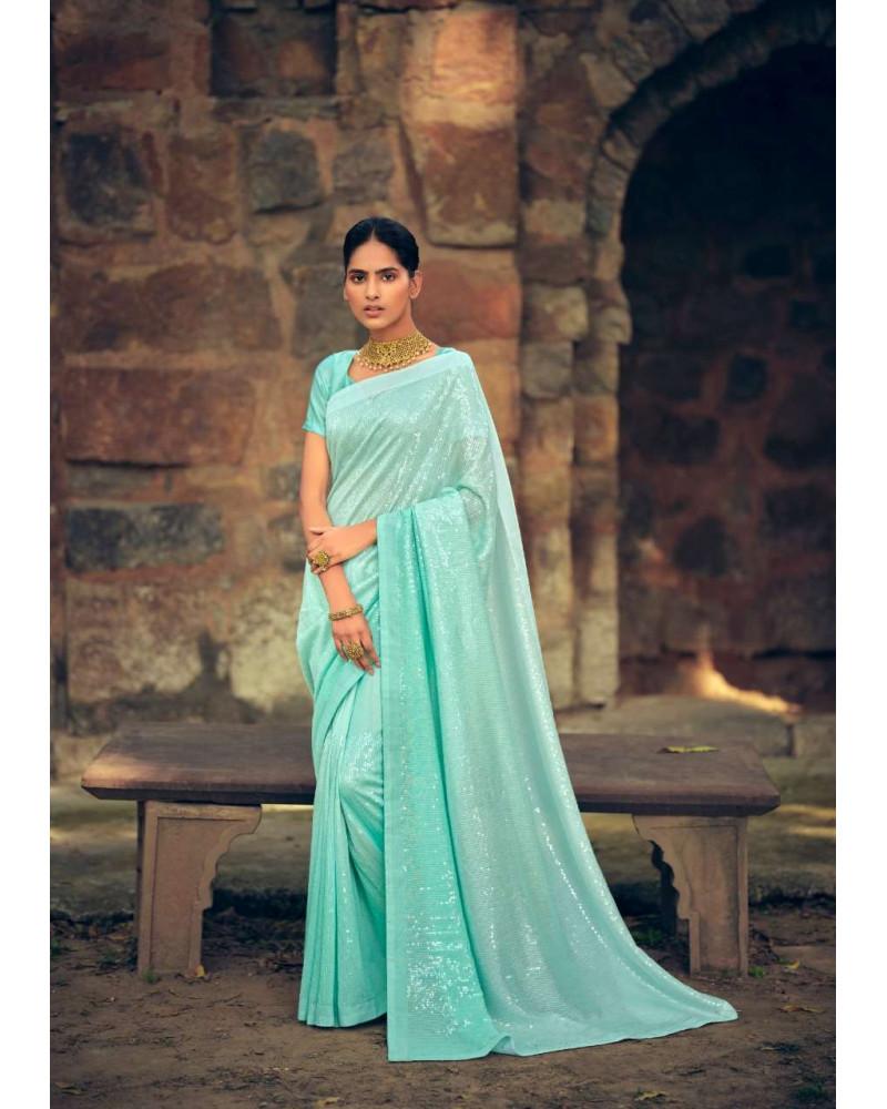 Saree bleu pastel sequins Kashvi
