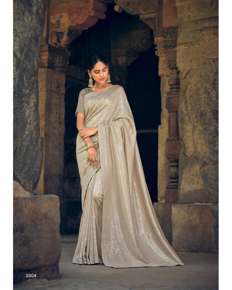 Saree gris pastel sequins Kashvi