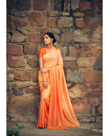 Saree orange pastel sequins Kashvi