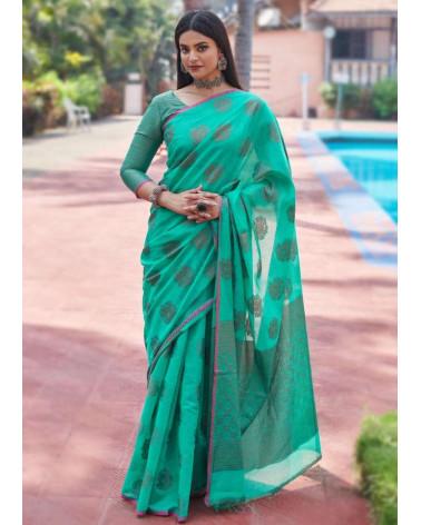Saree coton bleu turquoise Aneek