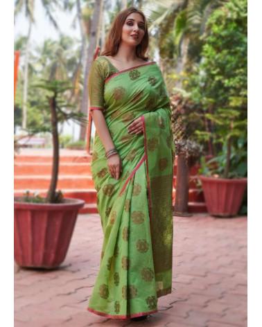 Saree coton vert  Aneek
