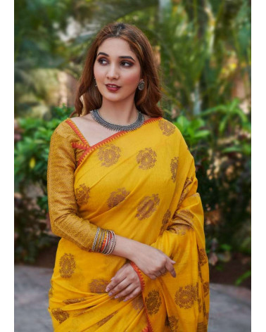 Saree coton jaune Aneek