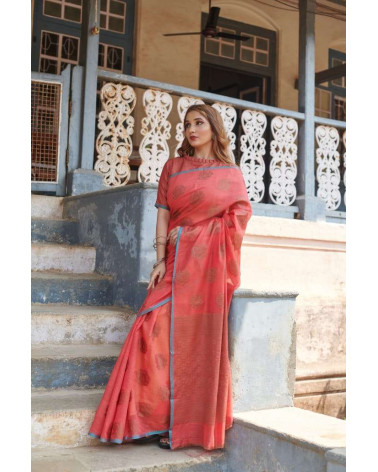 Saree coton rose Aneek