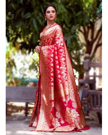 Saree silk Banaresse rouge Alita