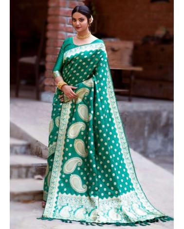 Saree soie Banaresse vert Alita