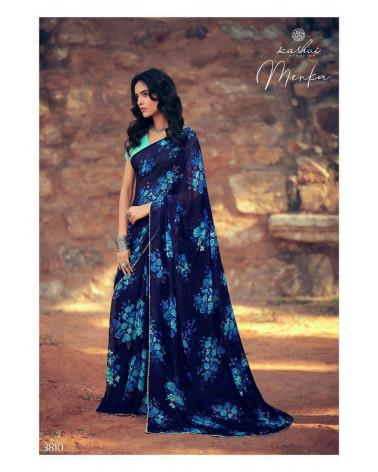 Saree bleu nuit floral Menka