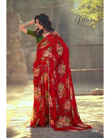 Saree rouge floral Menka