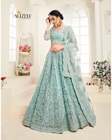 Lehenga choli bleu pastel Alizeh bridal