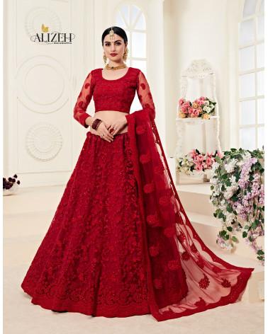 Lehenga choli rouge Alizeh bridal