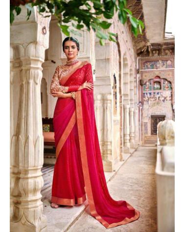 Saree rouge Kashvi