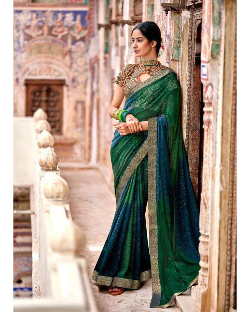 Saree vert bleu Kashvi