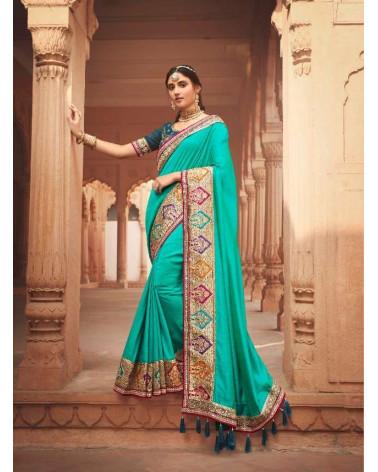 Saree turquoise Kavira