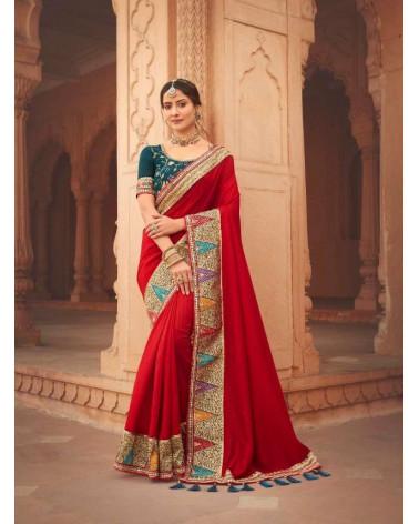 Saree rouge Kavira