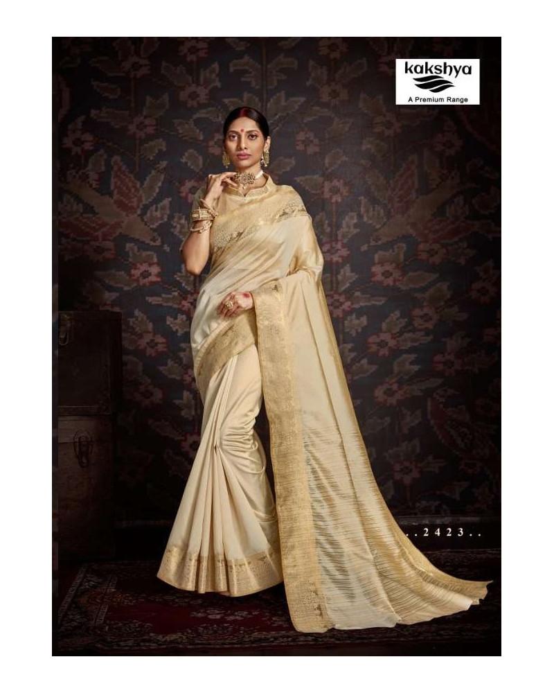 Saree blanc cassé Kakshya